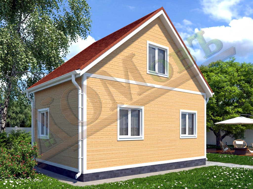 Каркасный дом 6х4 с террасой 1,5х1,5 - ракурс 2