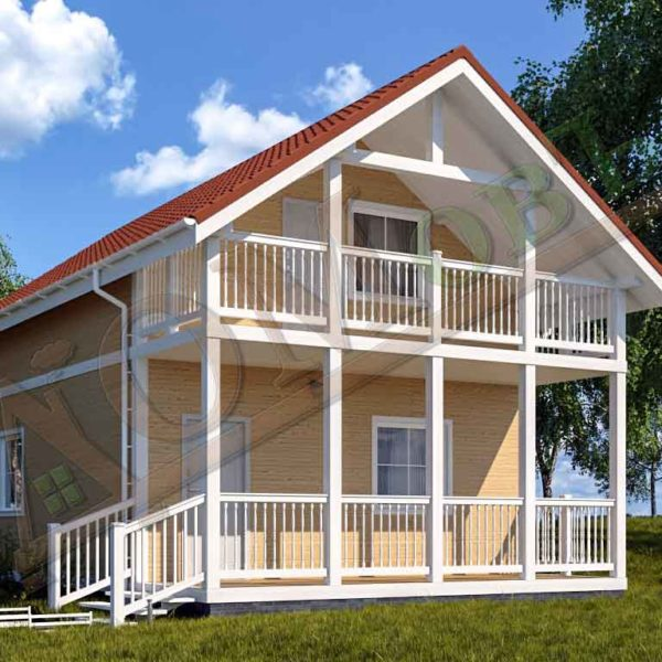 Коттедж каркасный 6х10 с террасой 1,5х6 и балконом 1,5х6