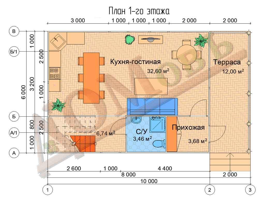 Коттедж каркасный 6х10 с террасой 1,5х6 и балконом 1,5х6 - планировка 1 этажа