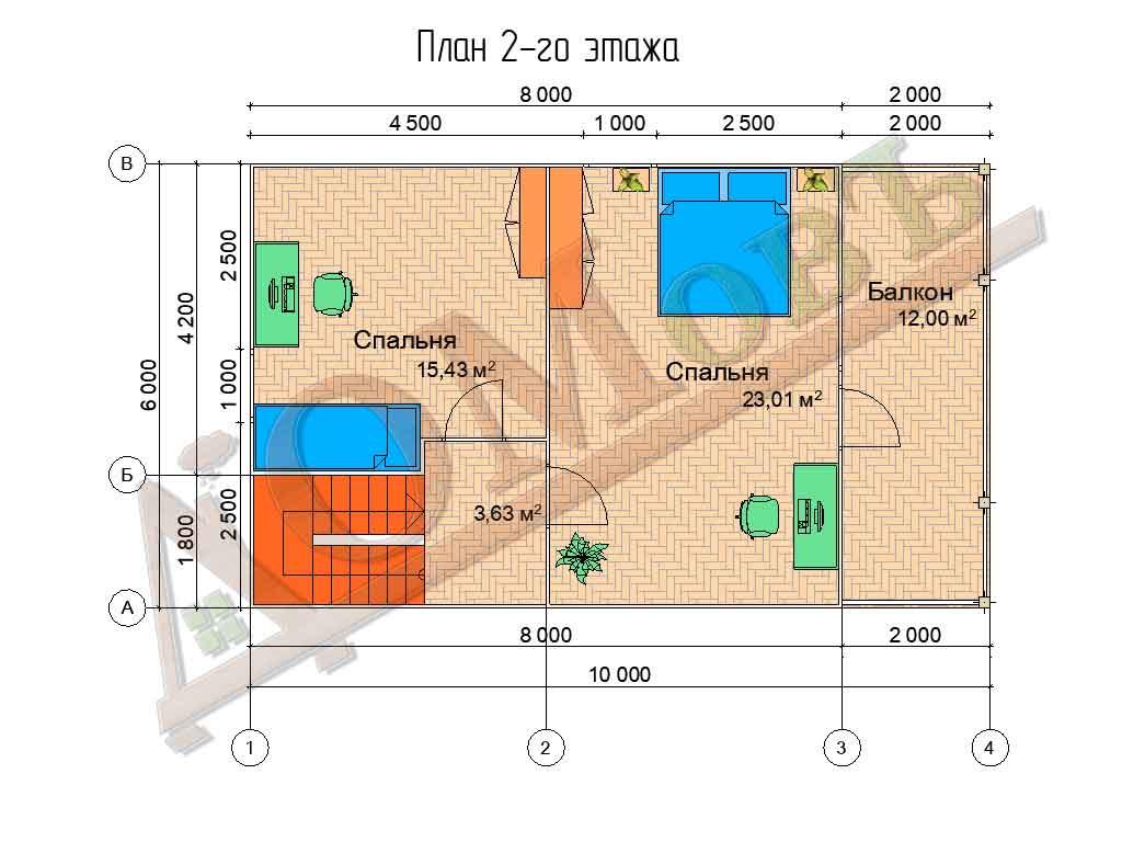 Коттедж каркасный 6х10 с террасой 1,5х6 и балконом 1,5х6 - планировка 2 этажа