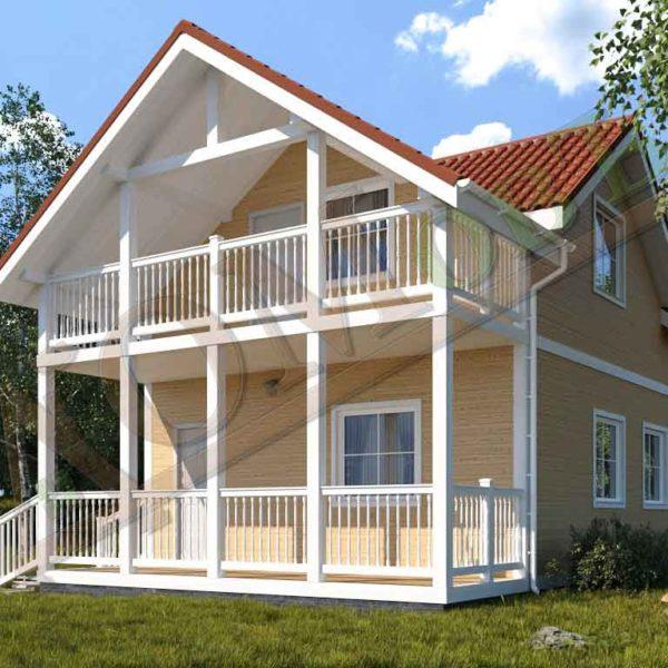 Коттедж каркасный 6х10 с террасой 1,5х6 и балконом 1,5х6 - ракурс 2