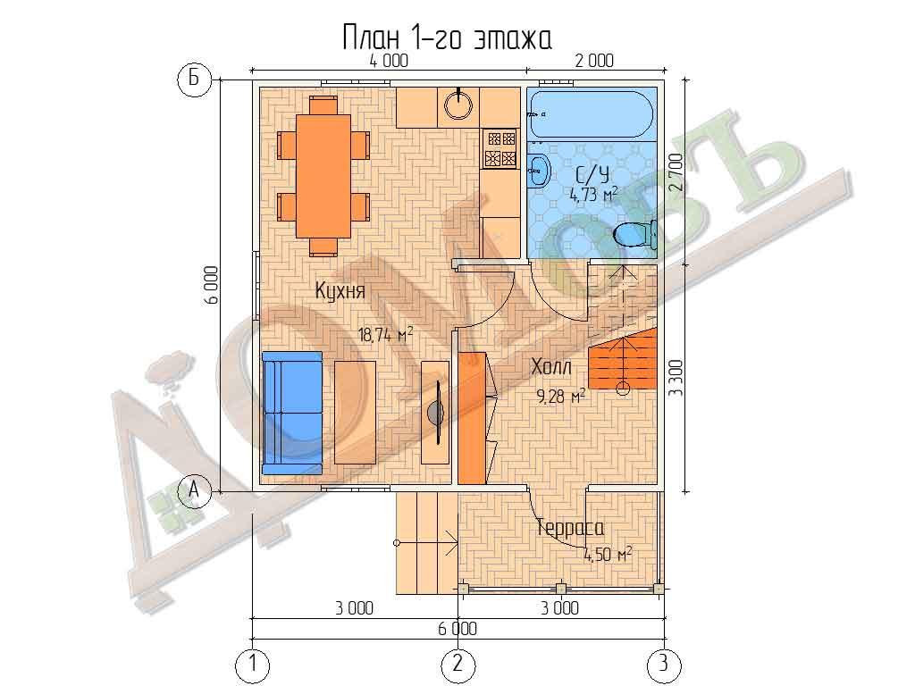 Коттедж каркасный 6х6 с террасой 1,5х3 - планировка 1 этажа