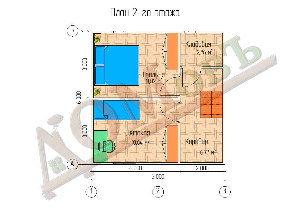 Коттедж каркасный 6х6 с террасой 1,5х3 - планировка 2 этажа