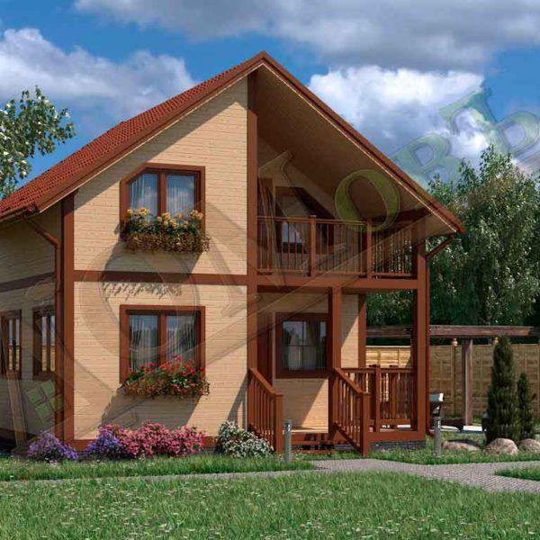 Коттедж каркасный 6х6 с террасой 1,5х3 и балконом 1,5х3