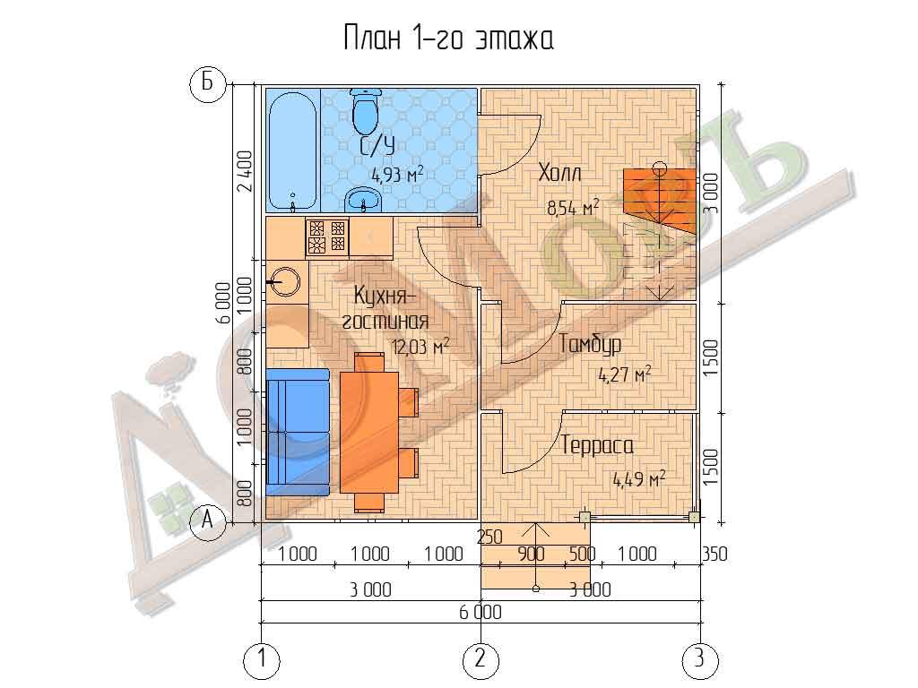 Коттедж каркасный 6х6 с террасой 1,5х3 и балконом 1,5х3 - планировка 1 этажа
