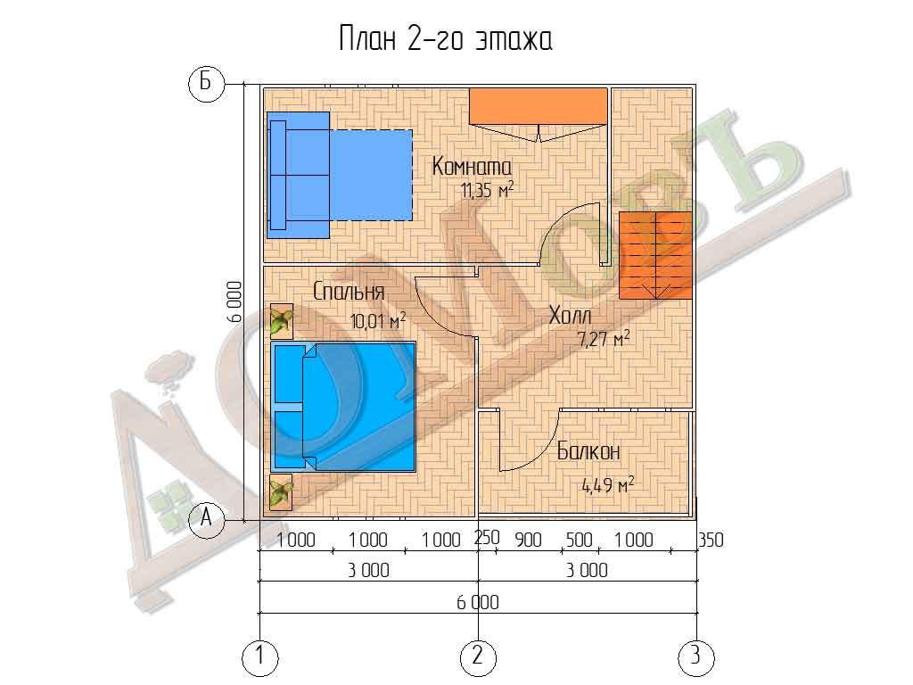 Коттедж каркасный 6х6 с террасой 1,5х3 и балконом 1,5х3 - планировка 2 этажа