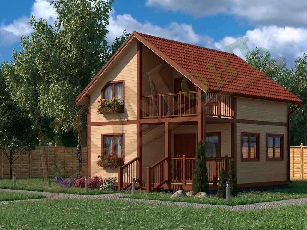 Коттедж каркасный 6х6 с террасой 1,5х3 и балконом 1,5х3 - ракурс 2
