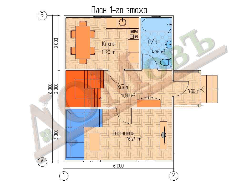Коттедж каркасный 6х8 с террасой 1,5х2 - планировка 1 этажа