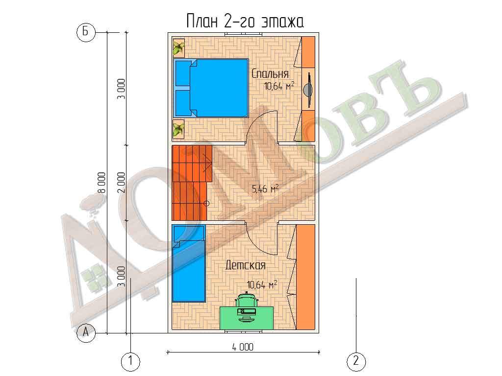 Коттедж каркасный 6х8 с террасой 1,5х2 - планировка 2 этажа