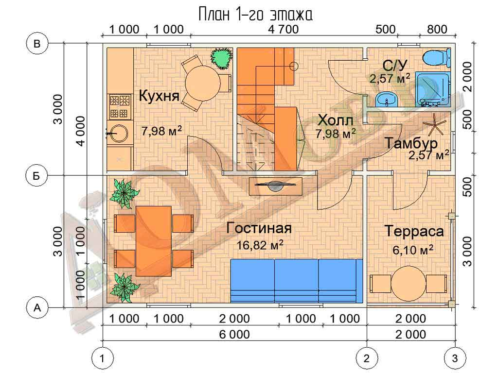 Коттедж каркасный 6х8 с террасой 2х3 - планировка 1 этажа