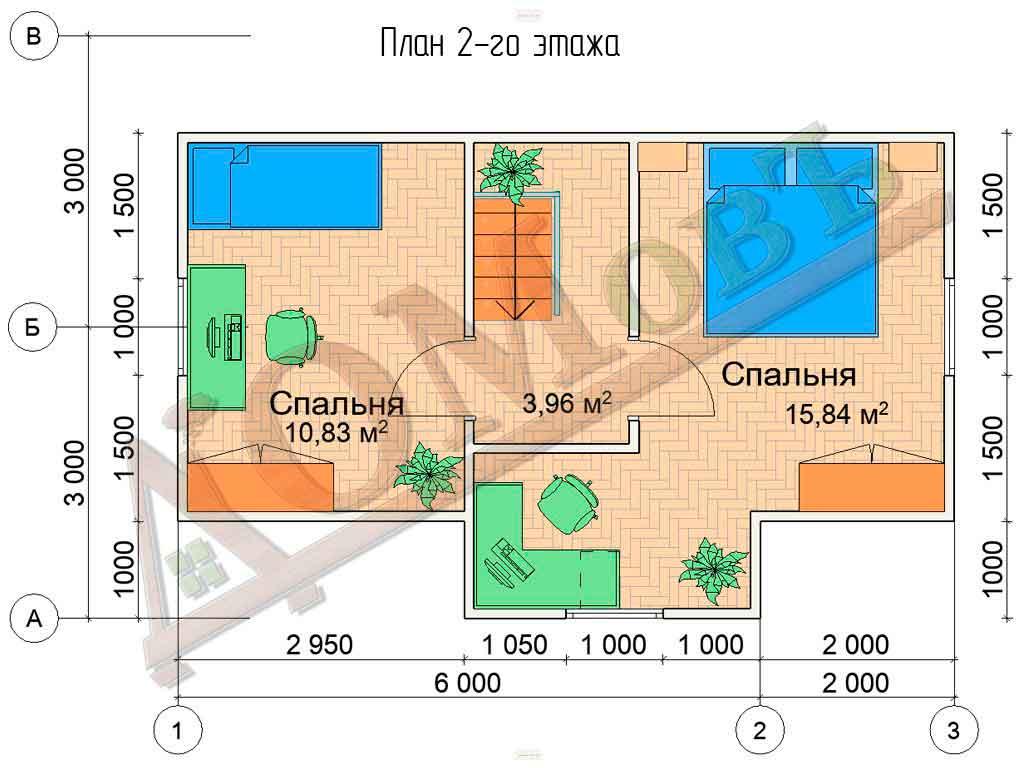 Коттедж каркасный 6х8 с террасой 2х3 - планировка 2 этажа