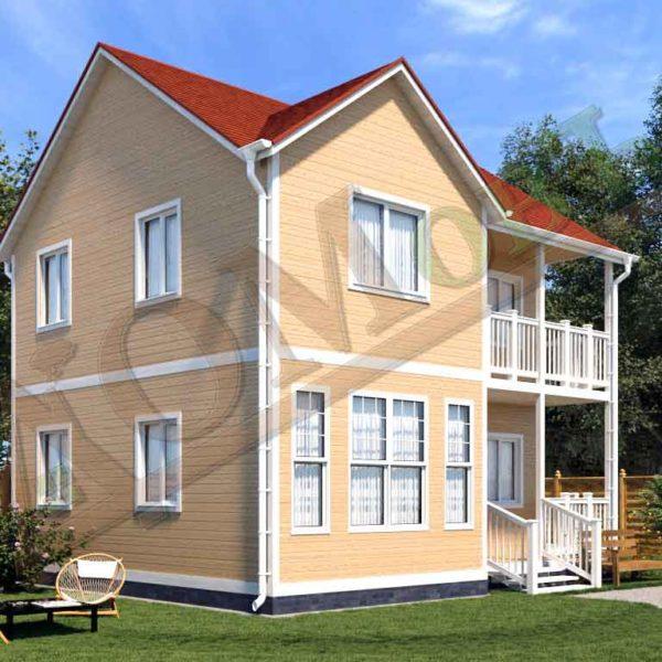 Коттедж каркасный 7х8 с террасой 1,5х4 и балконом 1,5х4