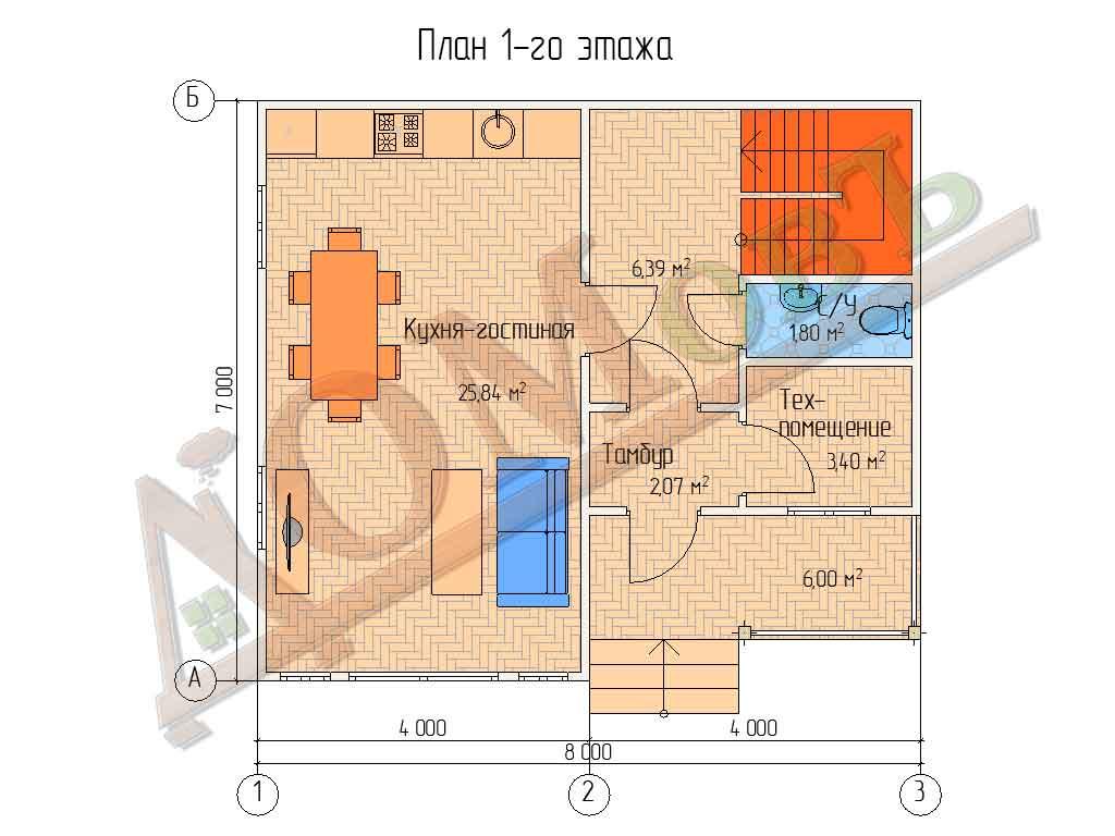 Коттедж каркасный 7х8 с террасой 1,5х4 и балконом 1,5х4 - планировка 1 этажа