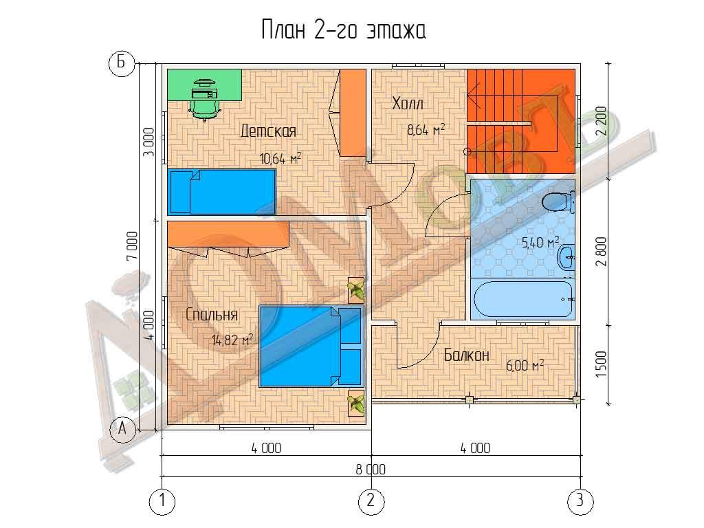 Коттедж каркасный 7х8 с террасой 1,5х4 и балконом 1,5х4 - планировка 2 этажа