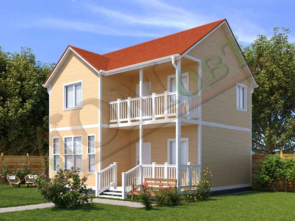Коттедж каркасный 7х8 с террасой 1,5х4 и балконом 1,5х4 - ракурс 2