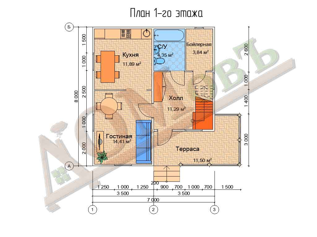 Коттедж каркасный 7х8 с террасой 3х5 - планировка 1 этажа