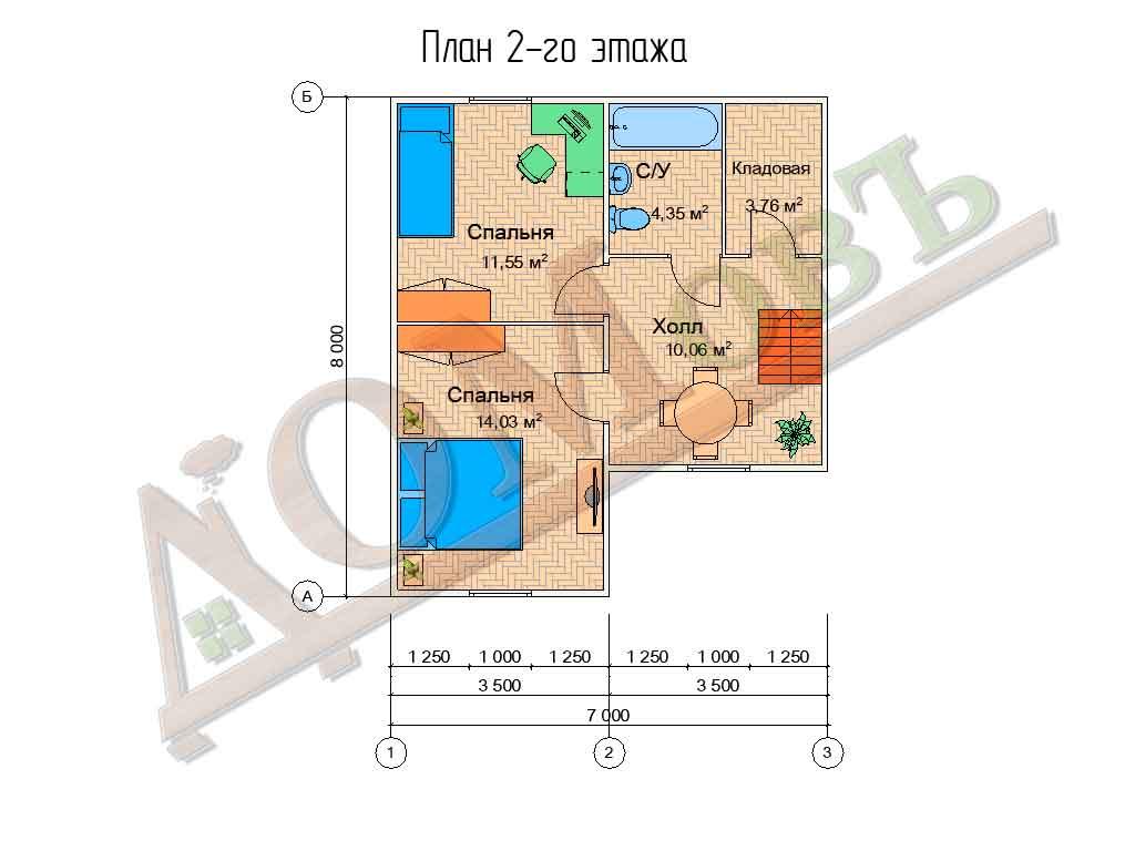 Коттедж каркасный 7х8 с террасой 3х5 - планировка 2 этажа
