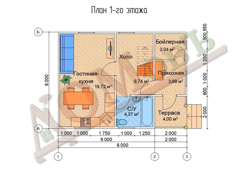 Коттедж каркасный 8х6 с террасой 2х2 - планировка 1 этажа