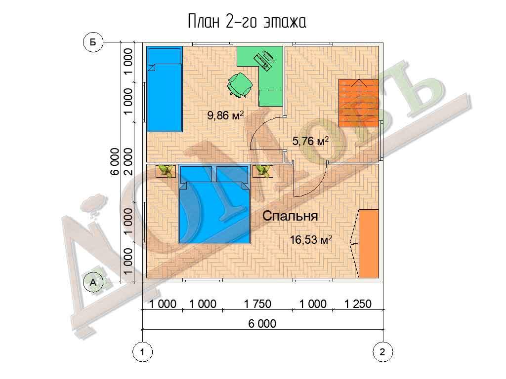 Коттедж каркасный 8х6 с террасой 2х2 - планировка 2 этажа