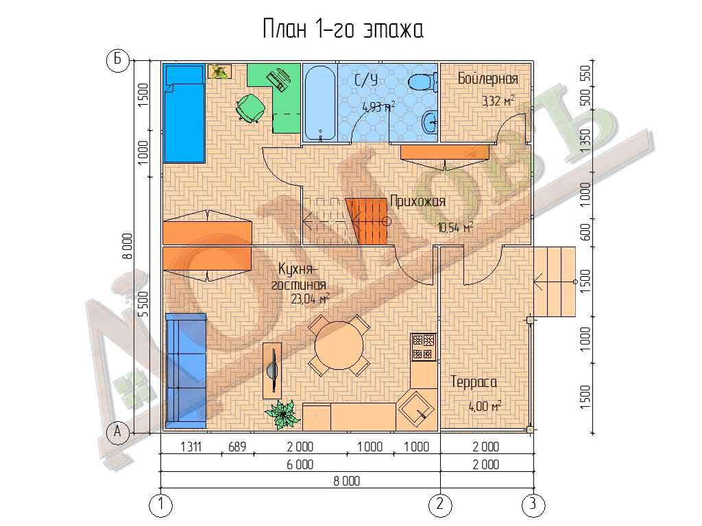 Коттедж каркасный 8х8 с террасой 2х4 - планировка 1 этажа