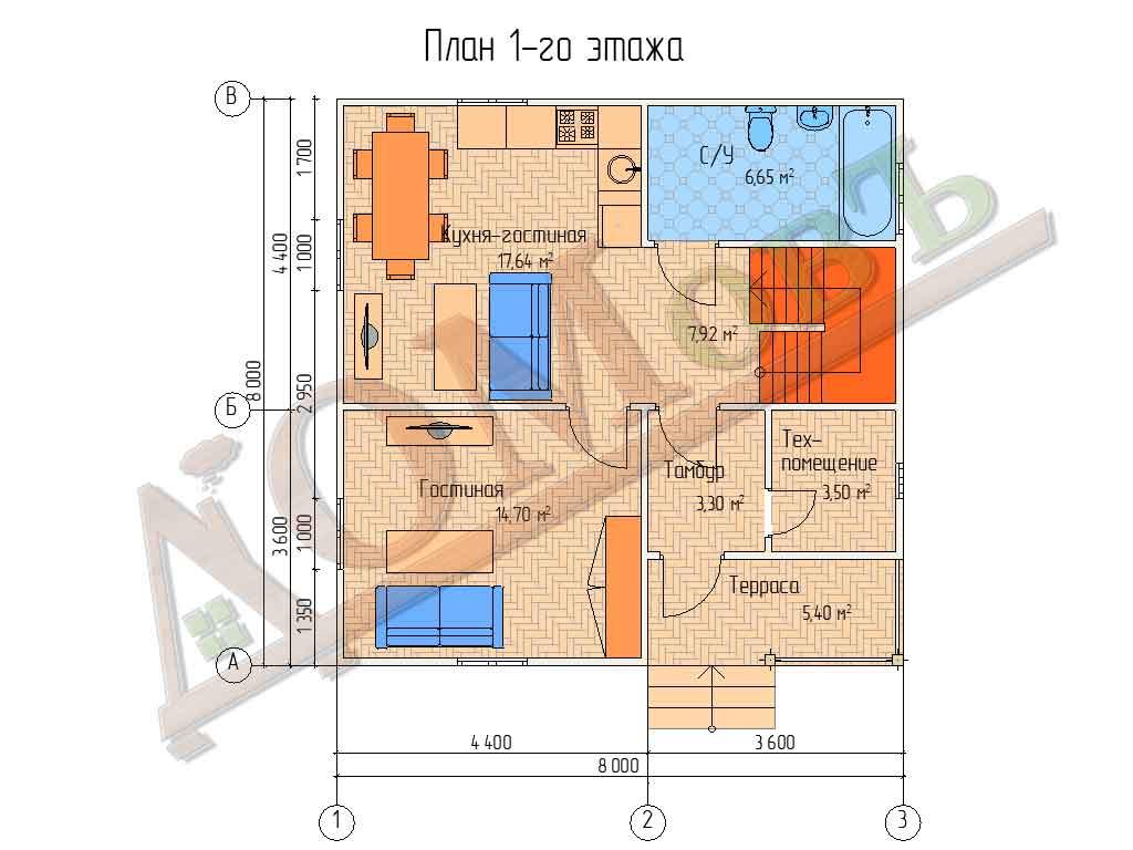 Коттедж каркасный 8х8 с террасой 1,5х3,6 - планировка 1 этажа