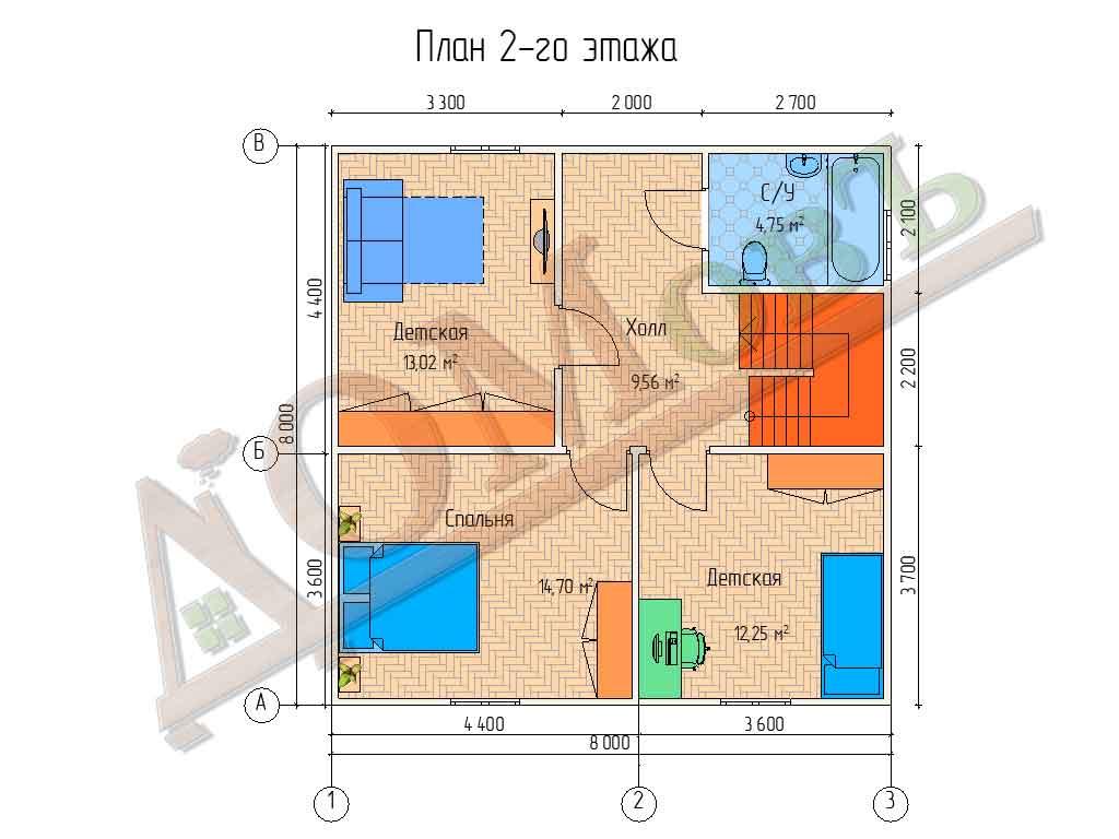 Коттедж каркасный 8х8 с террасой 1,5х3,6 - планировка 2 этажа