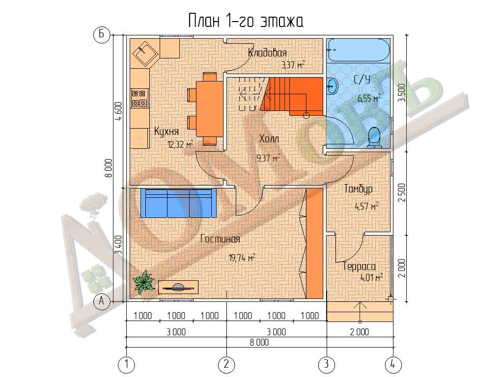 Коттедж каркасный 8х8 с террасой 2х2 - планировка 1 этажа