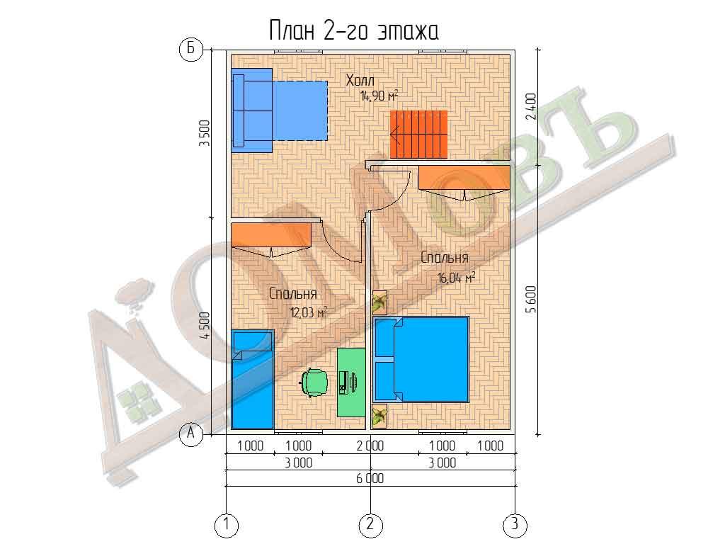 Коттедж каркасный 8х8 с террасой 2х2 - планировка 2 этажа