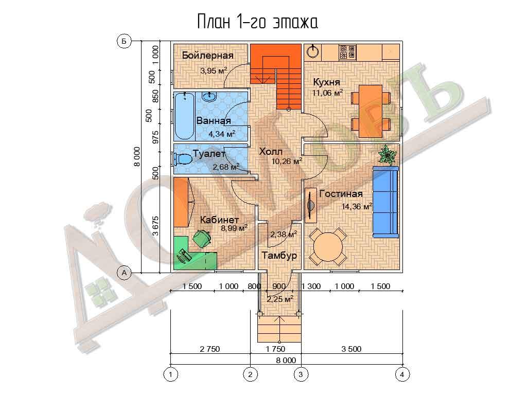 Коттедж каркасный 8х8 с террасой 1,5х1,5 - планировка 1 этажа