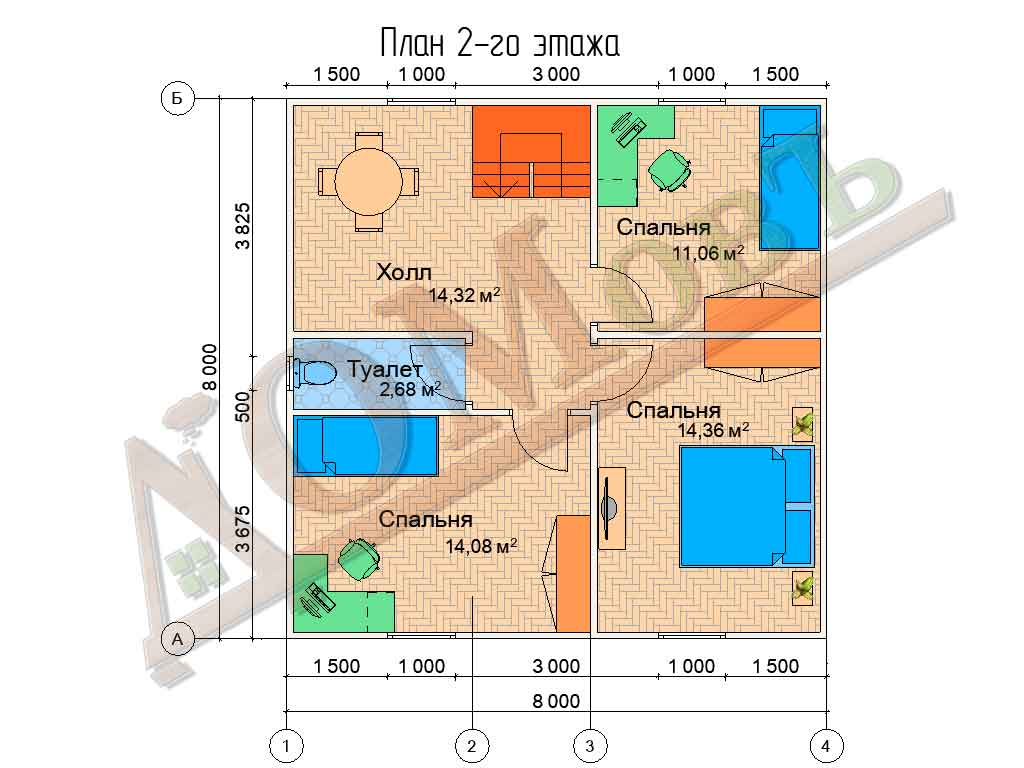 Коттедж каркасный 8х8 с террасой 1,5х1,5 - планировка 2 этажа