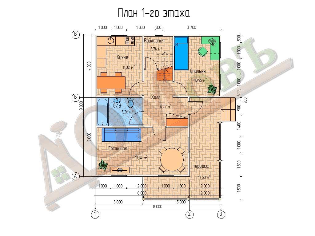 Коттедж каркасный 8х9 с террасой 6,5х5 - планировка 1 этажа