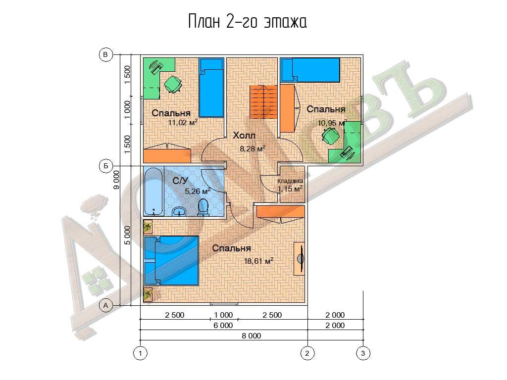 Коттедж каркасный 8х9 с террасой 6,5х5 - планировка 2 этажа
