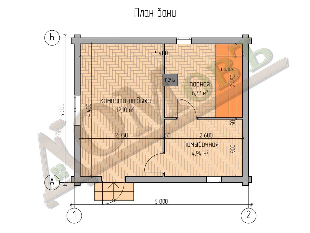 Баня из бревна 5х6 - план
