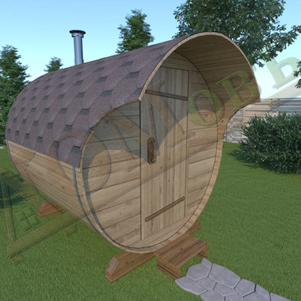 Баня бочка 2 метра с козырьком