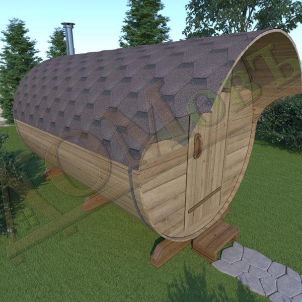Баня бочка 3 метра с козырьком