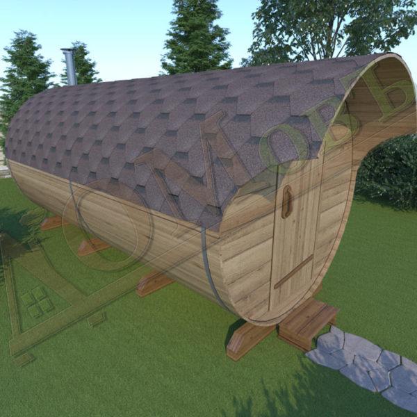 Баня бочка 4 метра с козырьком