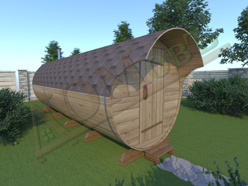 Баня бочка 5 метров с козырьком