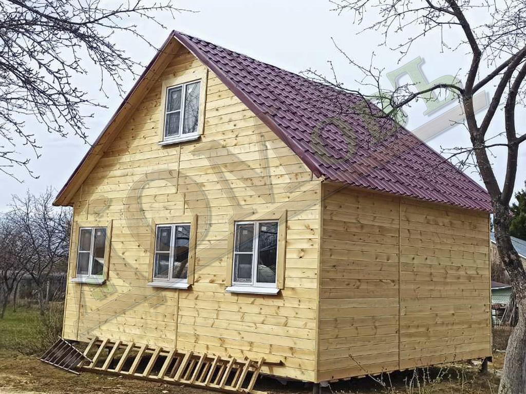 Двухэтажный каркасный дом 5х5 с верандой 1.5х5 - внешний вид, фото 2