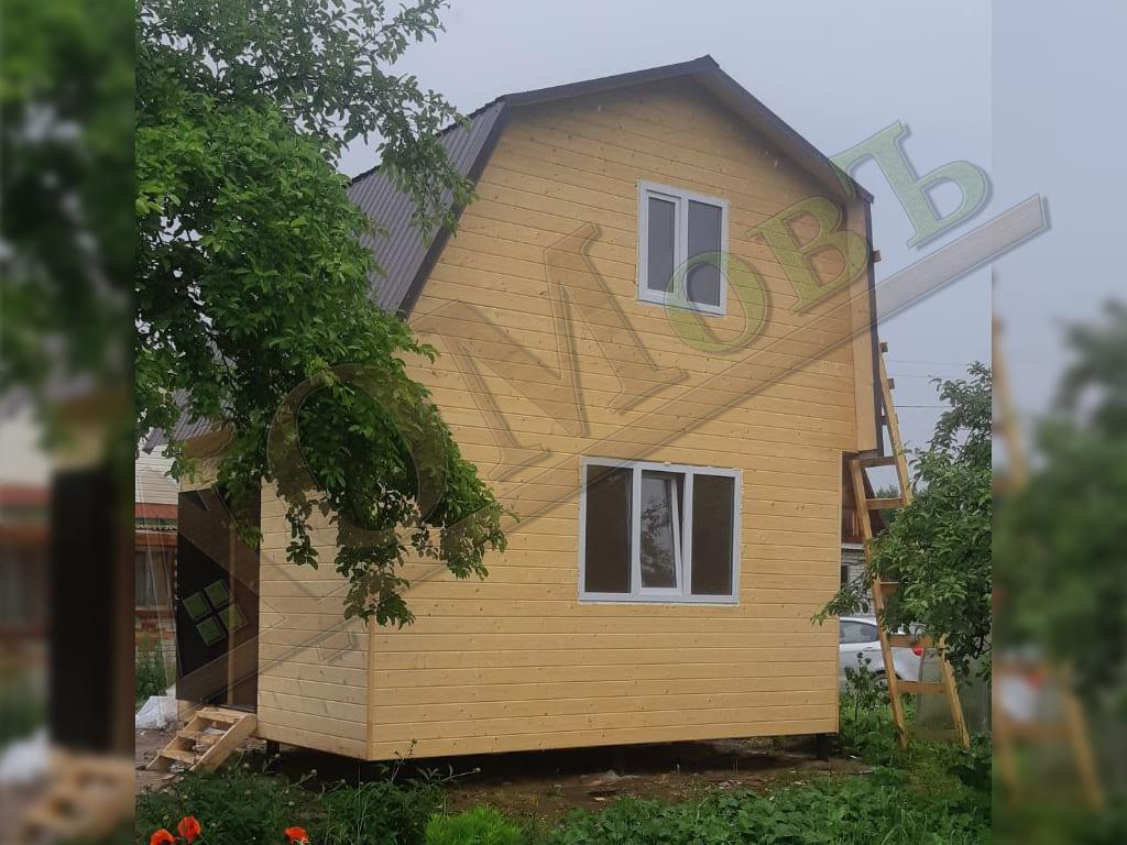Фотографии каркасного дачного дома 4х5 с мансардой